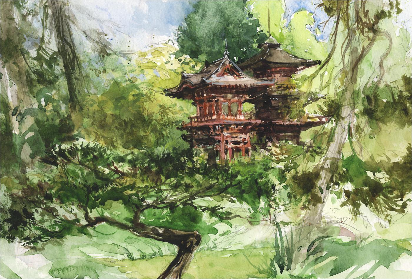 Japanese Garden Golden Gate Park Citizen Sketcher