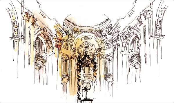 Sketch of Cathedral Marie Rienne du Monde, Montreal