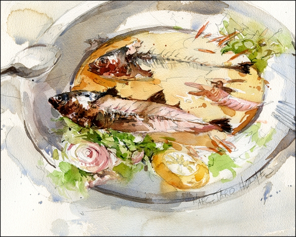 Sketch of my lunch of Grilled Sardines
