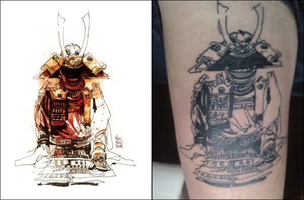 my Samurai armor sketch tattooed on a strangers thigh