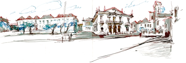 Portugal_Ink Pano01_Old Town Faro_Step05_Broad Nib
