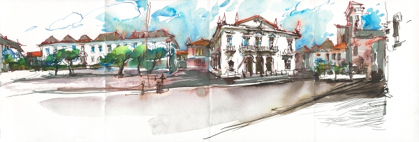 Portugal_Ink Pano01_Old Town Faro_Step06_Watercolor